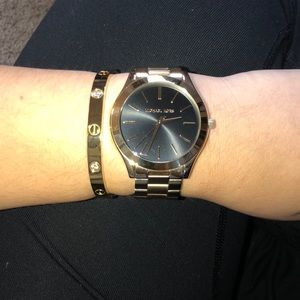 Michael Kors black & gold watch women's